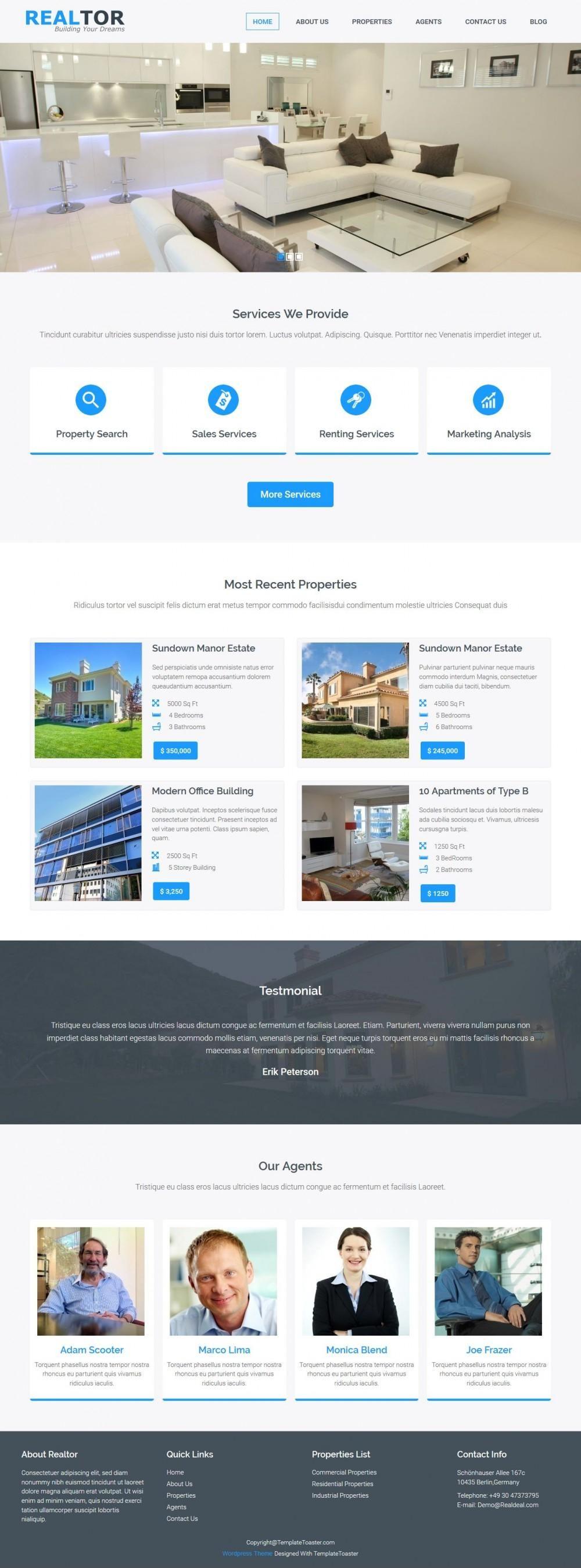 Realtor - Real Estate WordPress Theme