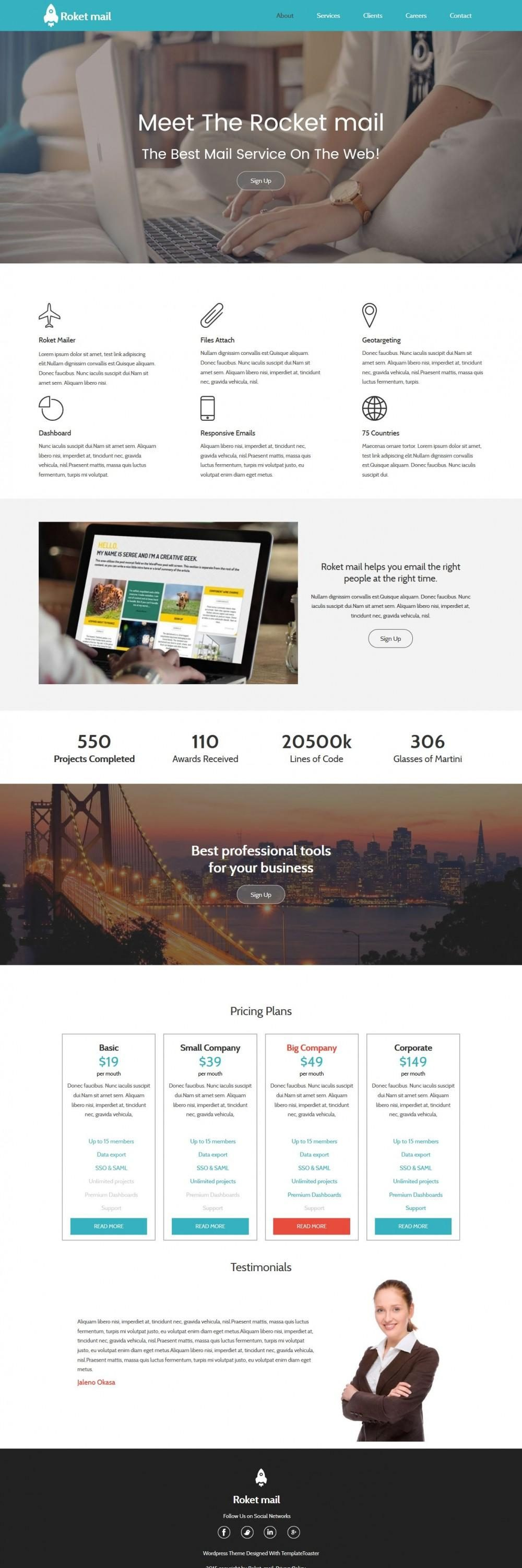 Roket Mail - Free WordPress Theme For Mail Service Agencies