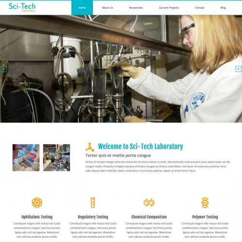 Sci-Tech Laboratory - Free WordPress Theme For Institutes/Labs