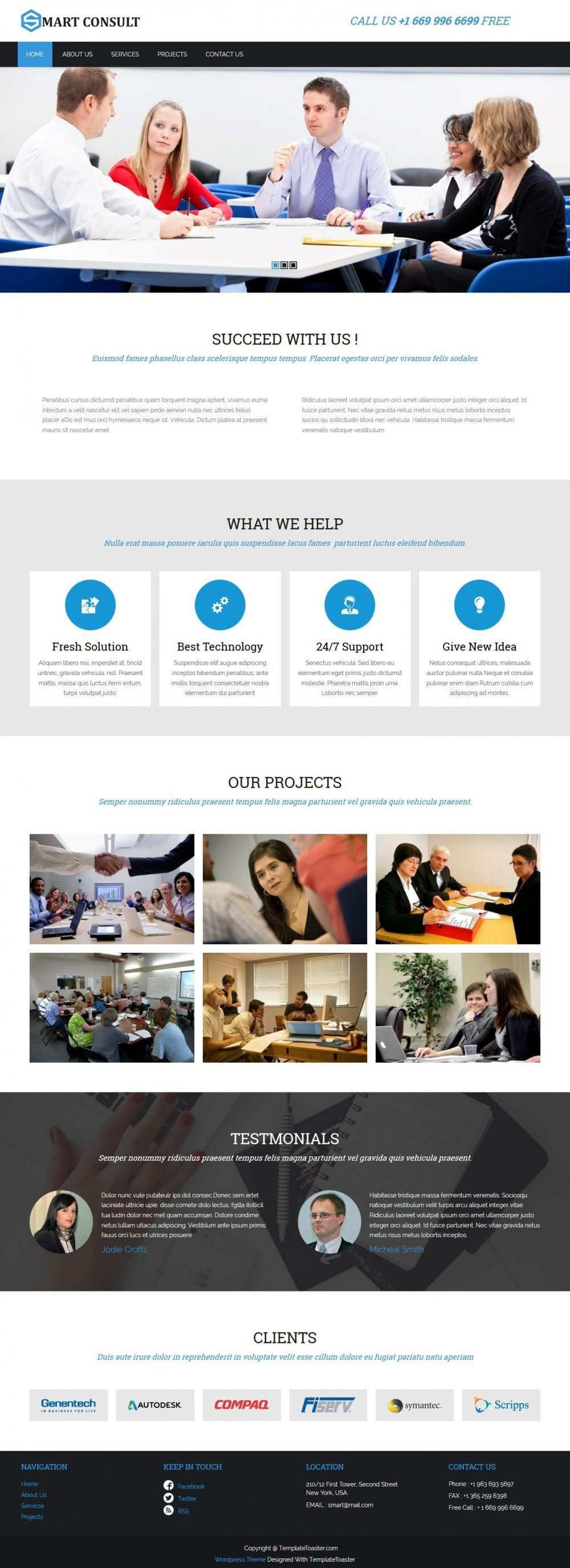 Smart Consultant - Business/Marketing Services Free WordPress Theme
