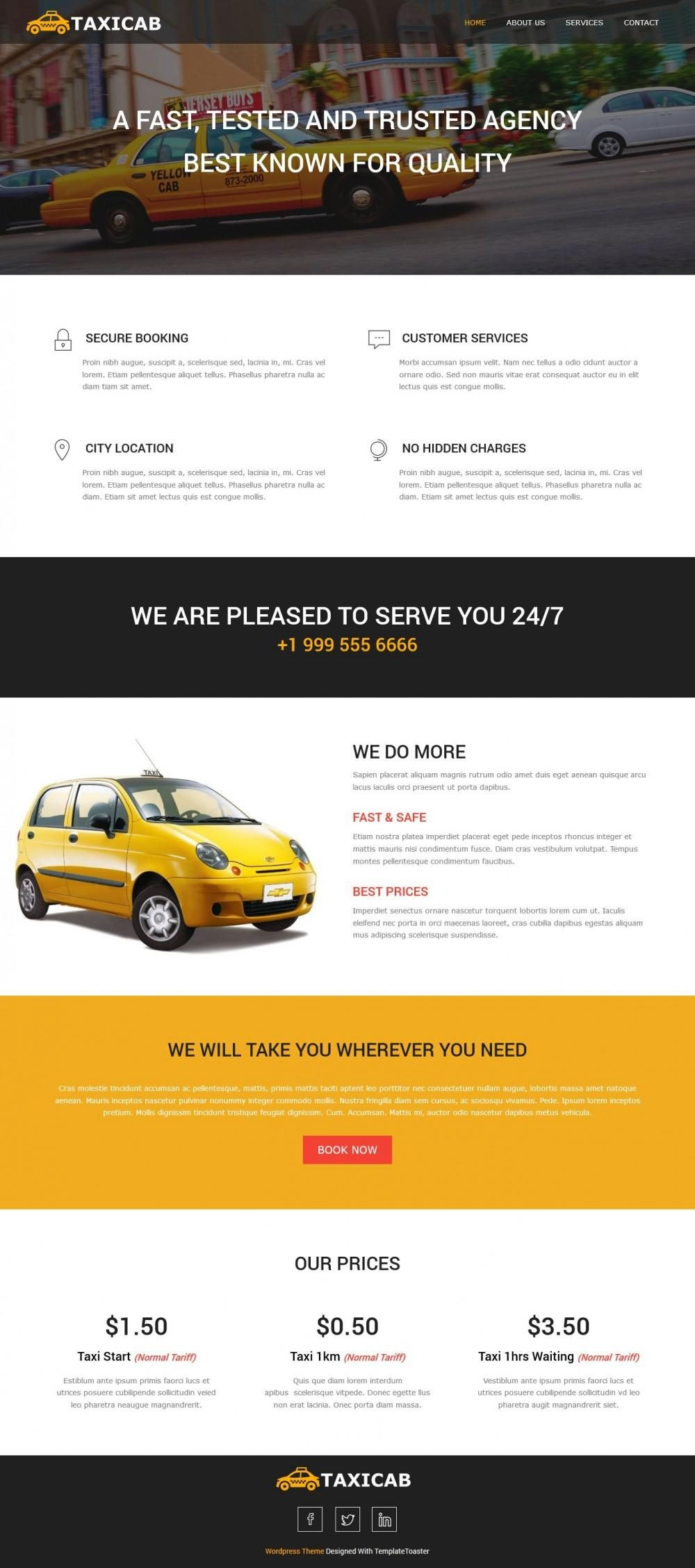Taxi-Cab - Taxi Company And Taxi Firm Free WordPress Theme