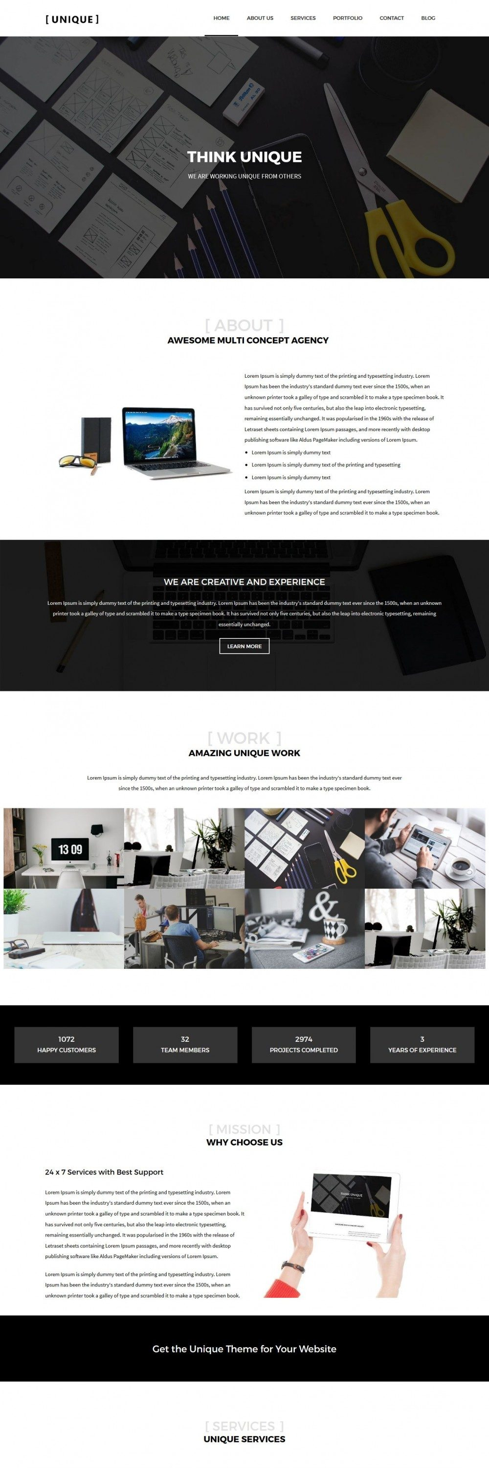 Unique - WordPress Theme for Web Design Agency