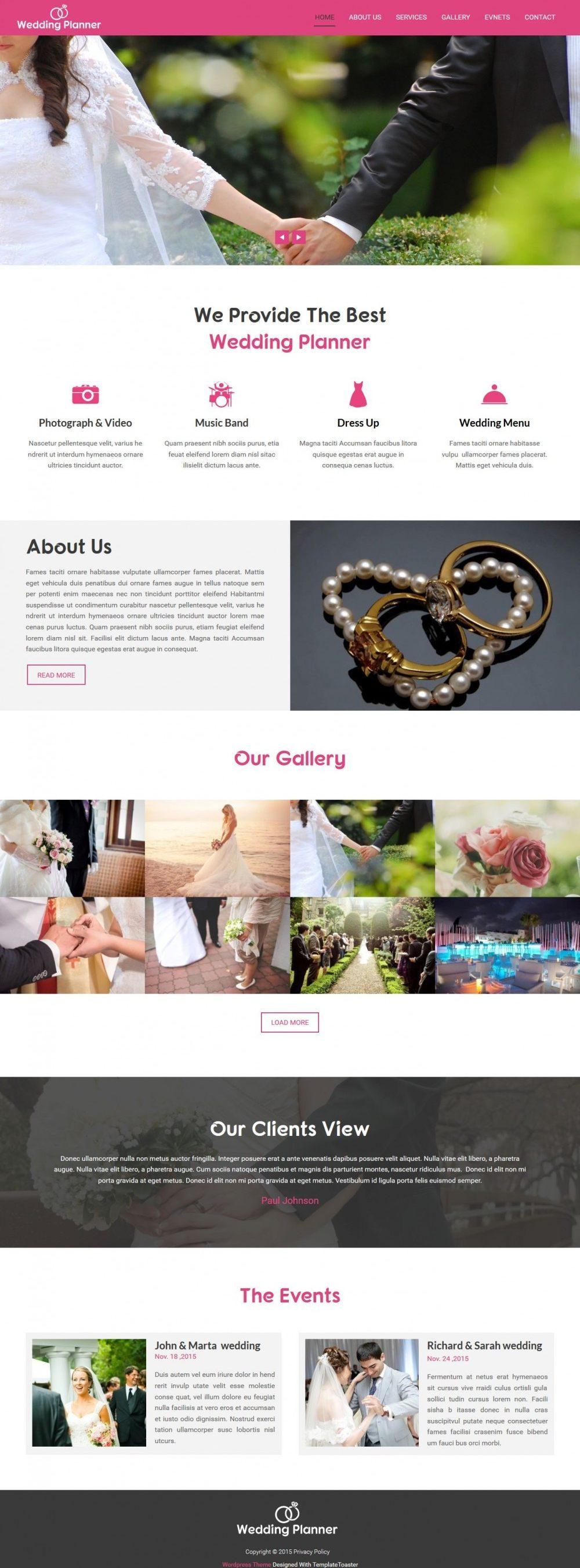 Wedding Planner - Wedding Planner And Wedding Organizer Free Wordpress Theme