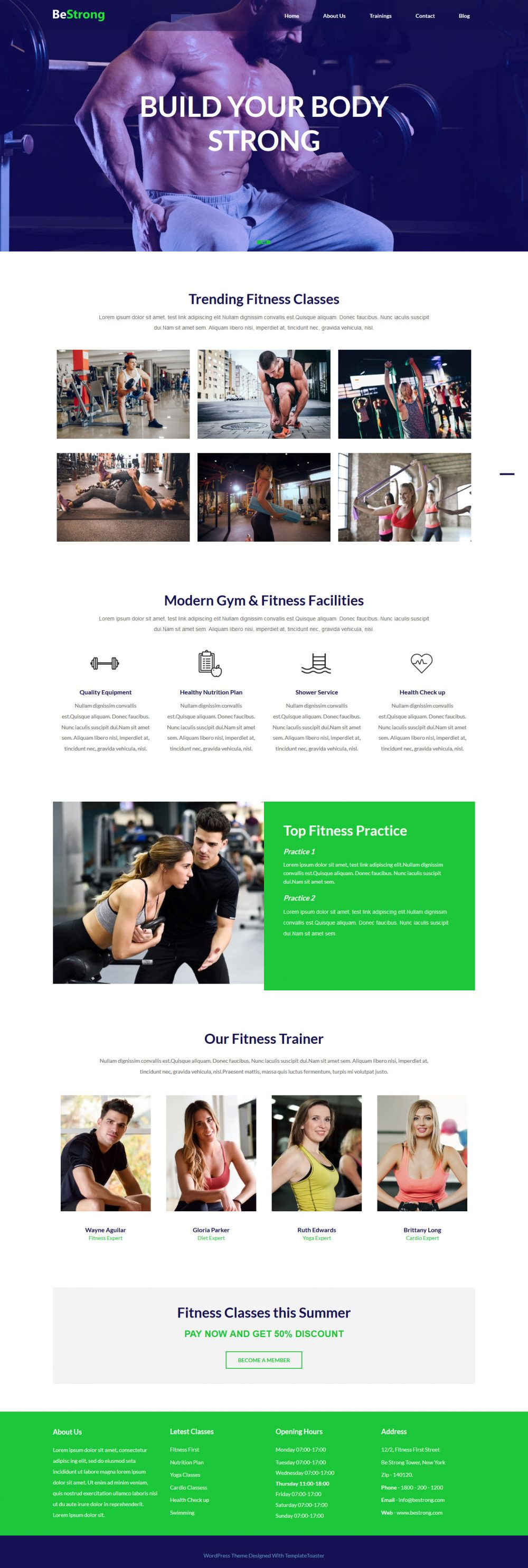 BeStrong Gym and Fitness Blogger Template