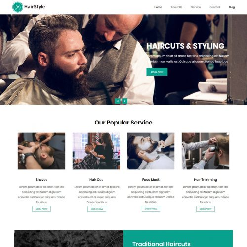 HairStyle Barber Shop Blogger Template