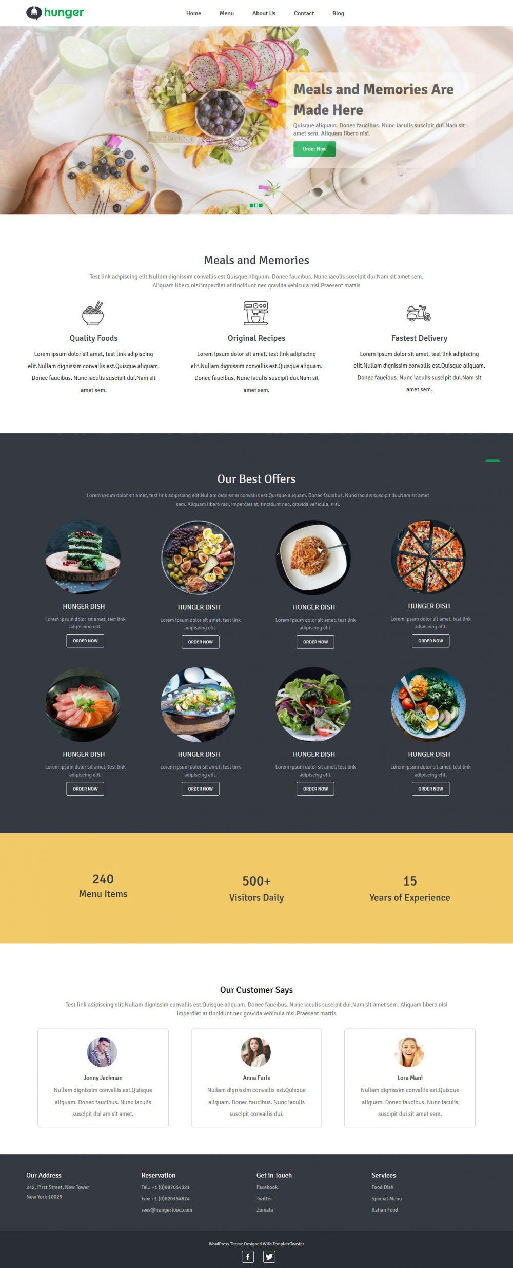 Hunger Restaurants Blogger Template
