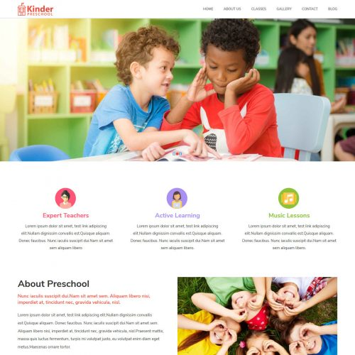 Kinder PreSchool Blogger Template