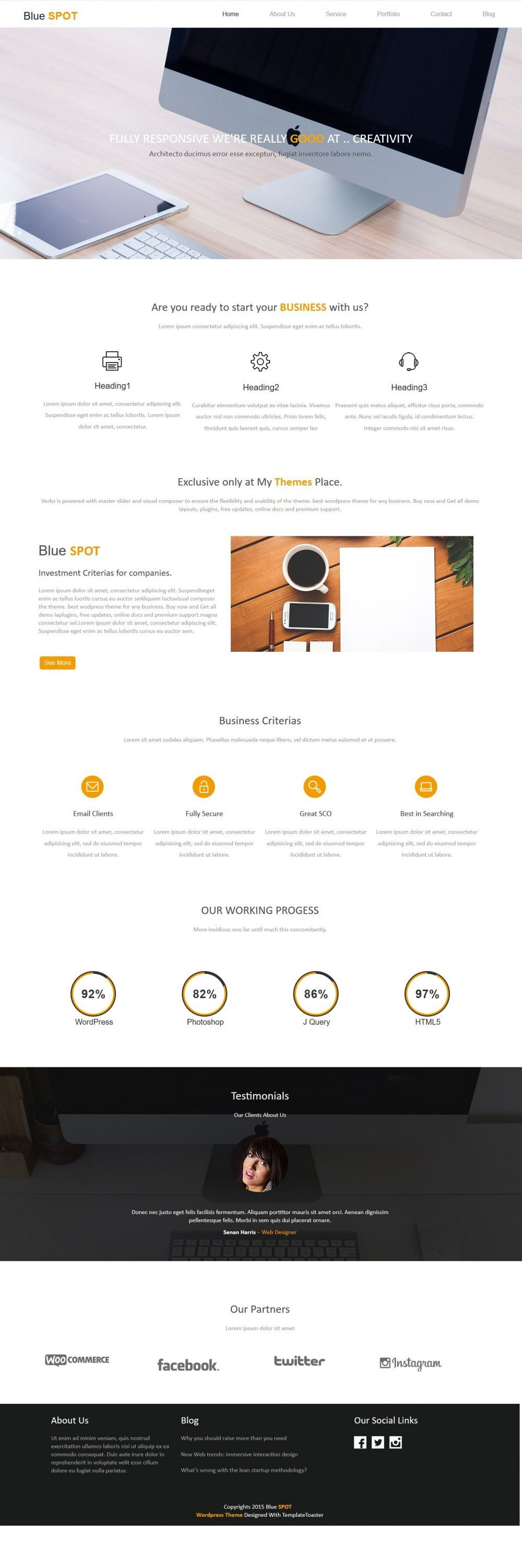 blue spot web design studio blogger template