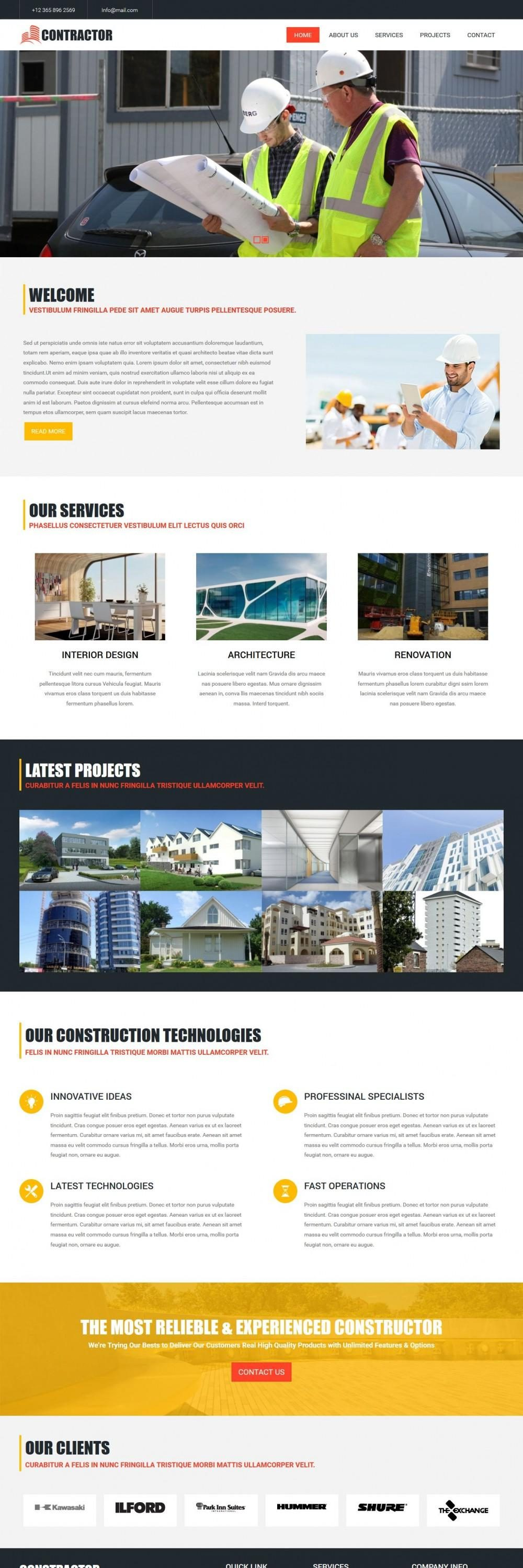 contractor construction business blogger template