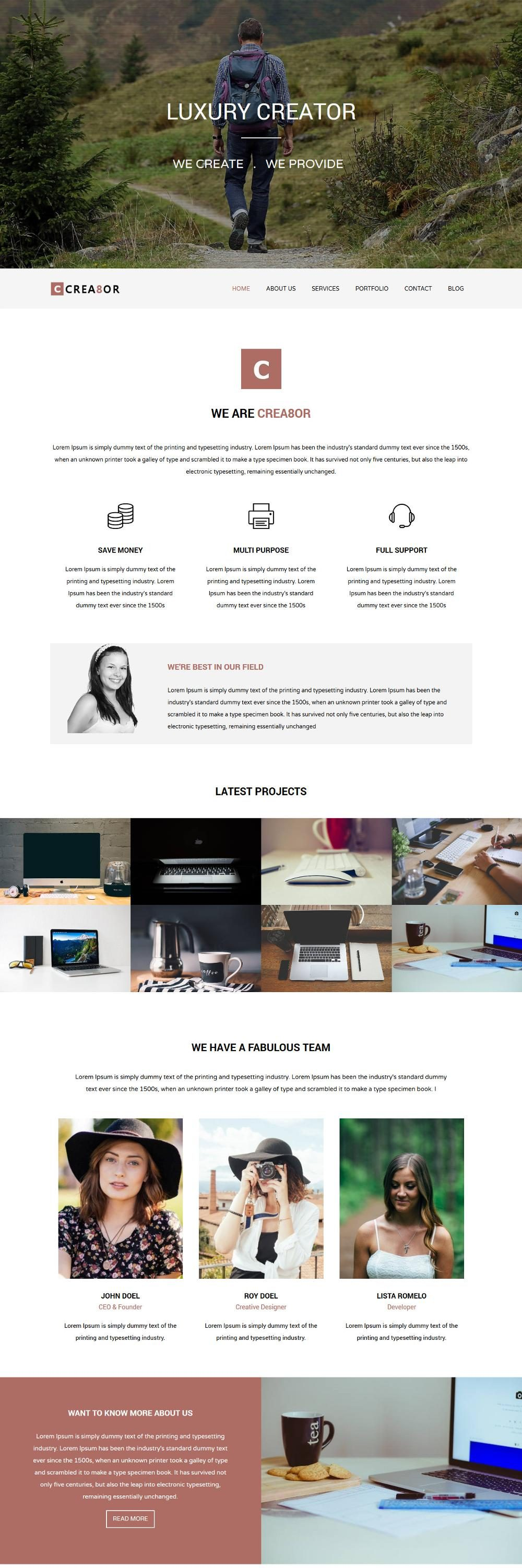 creator web design Agency blogger template