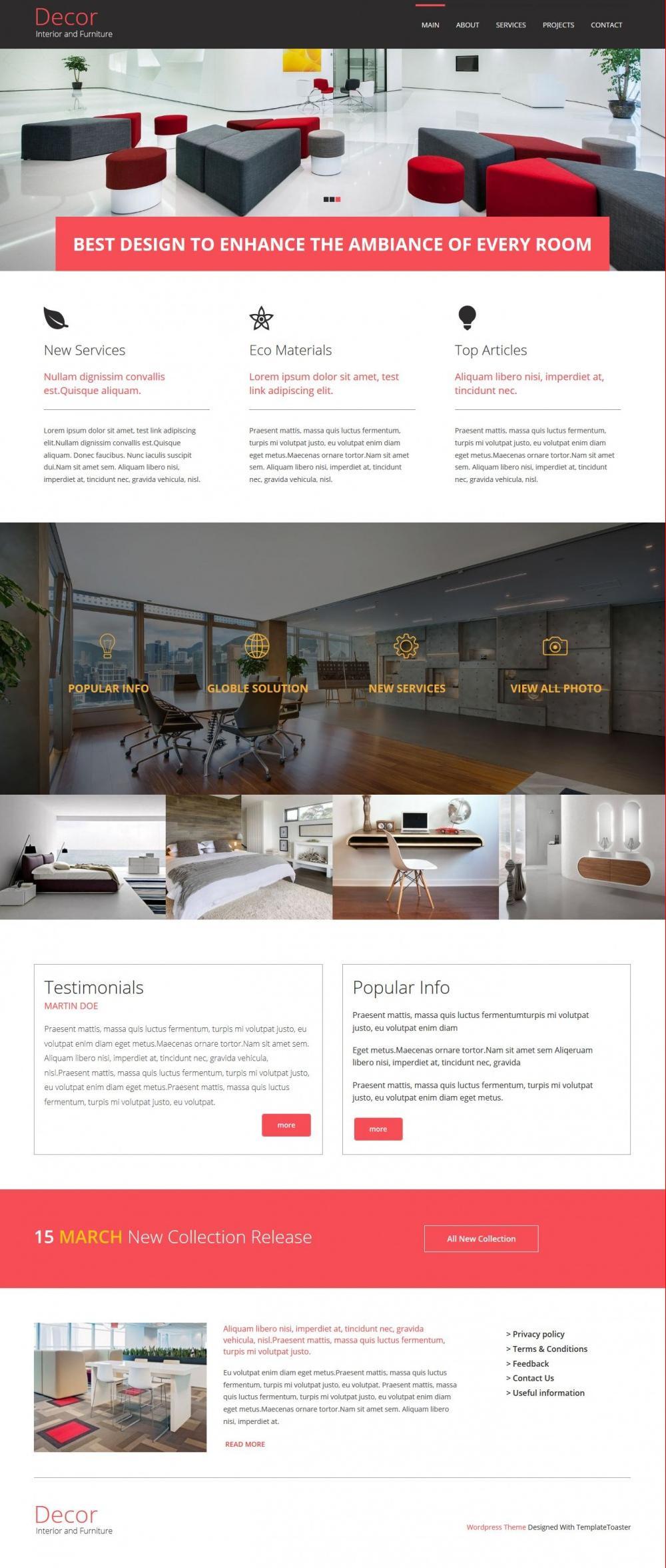 Decore Interior and Furniture Blogger Template - TemplateToaster