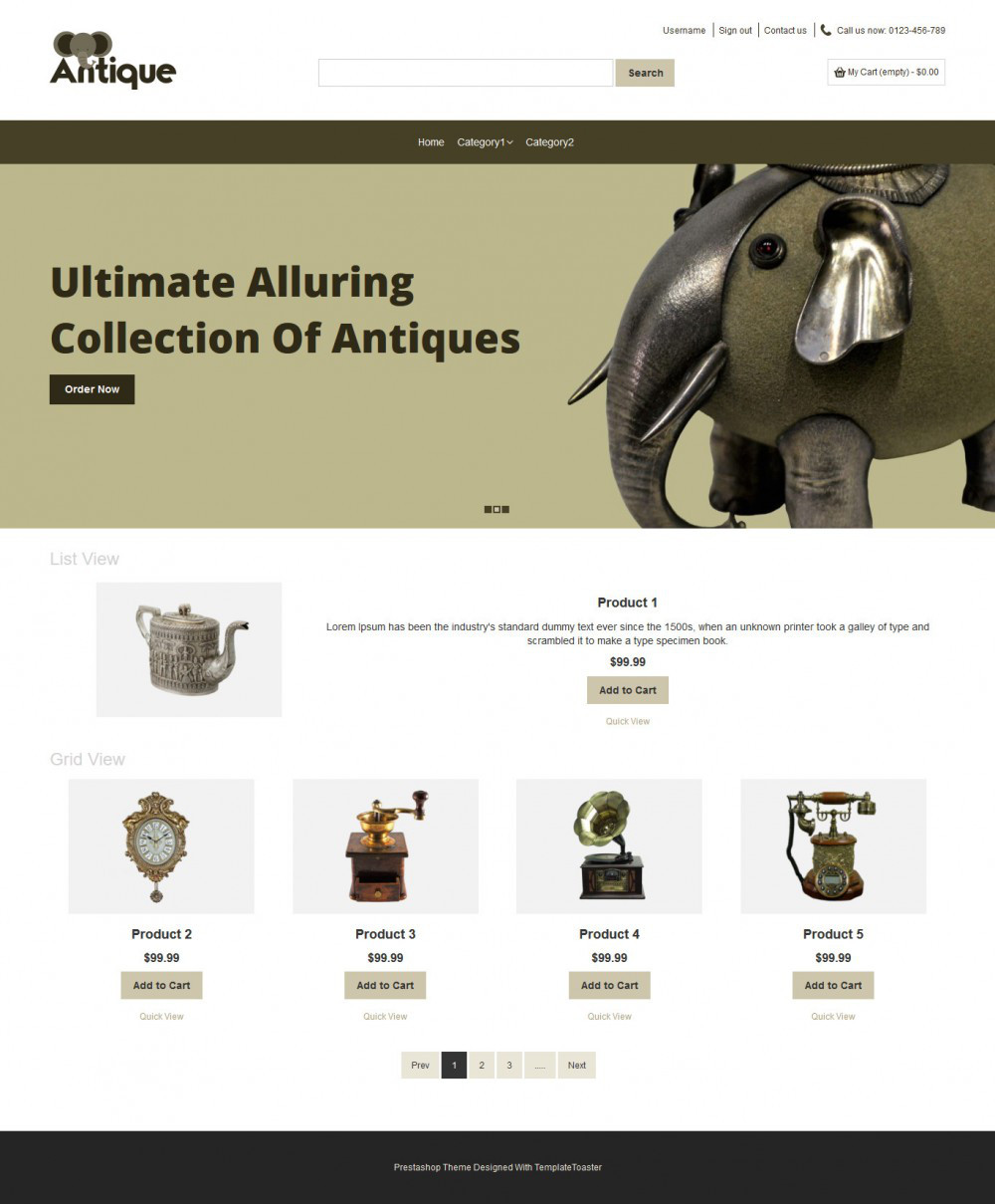 Antique Products OpenCart Theme - TemplateToaster