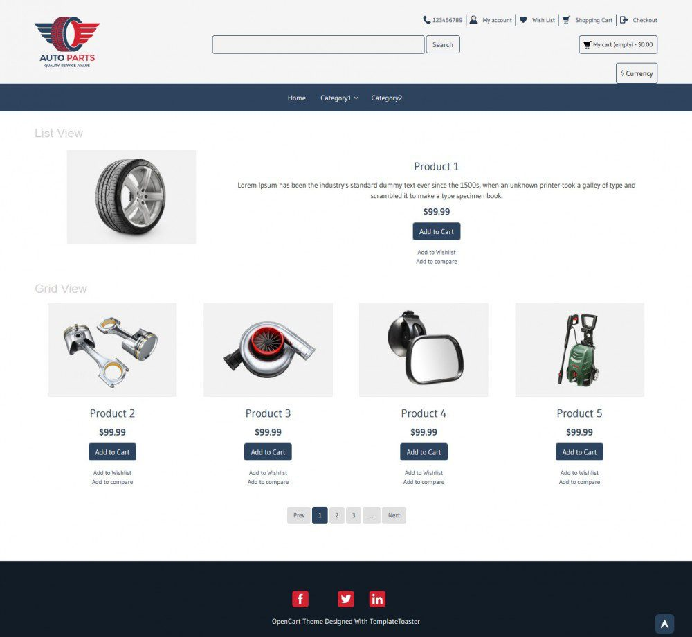 Auto Parts OpenCart Theme