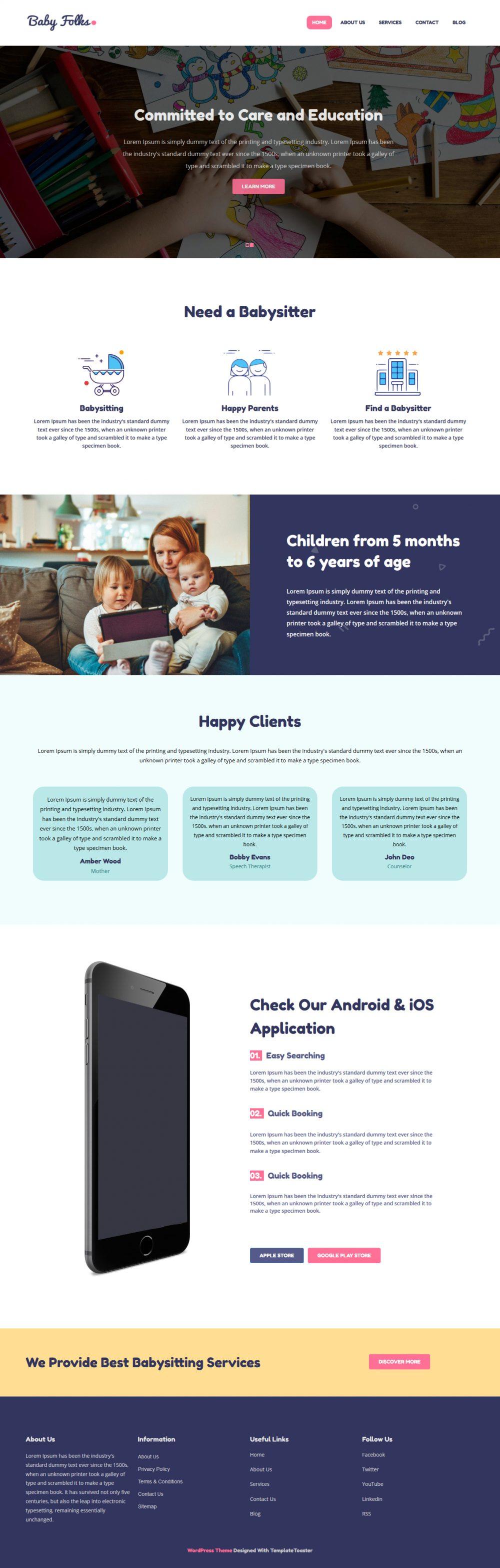 Baby Folks Babysitter HTML Template