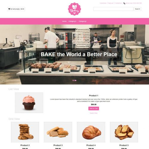 Bakery Cake Online Shop OpenCart Theme
