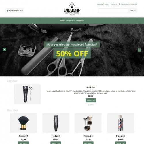 Barbershop Barber Products OpenCart Theme