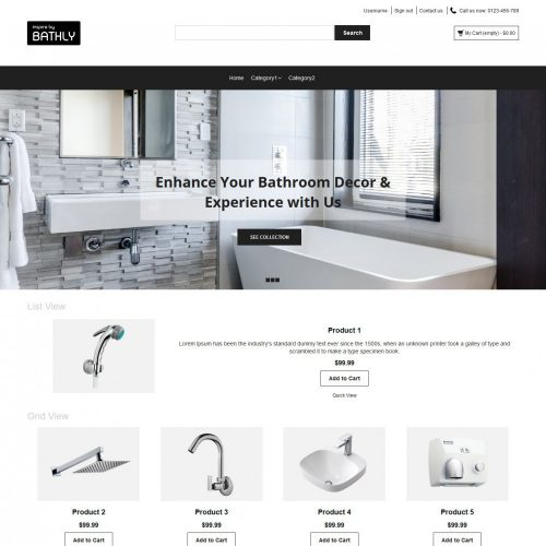Bathly Bathroom Accessories OpenCart Theme