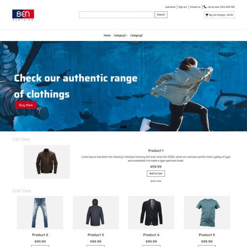 Ben Clothing Online Cloth Store OpenCart Theme