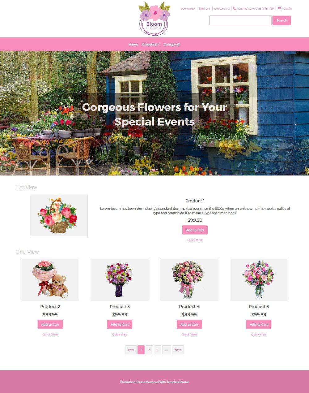 Bloom Flower Shop Virtuemart Template