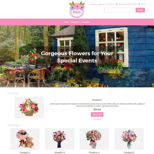 Bloom Flower Shop Virtuemart Template