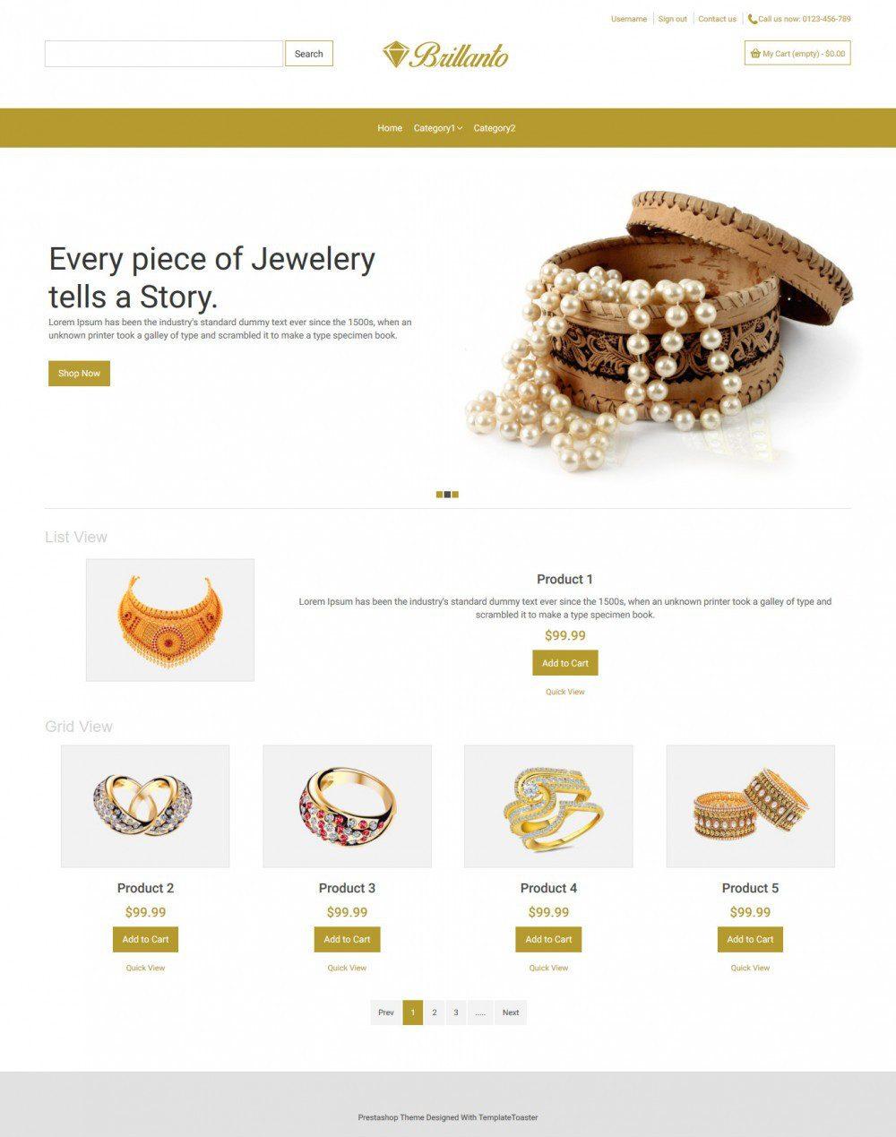 Brillanto Jewellery Store Virtuemart Template