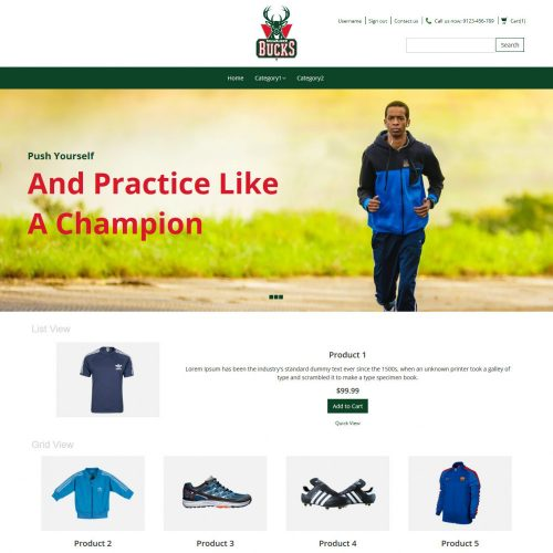 Bucks Sports Items Online Store OpenCart Theme