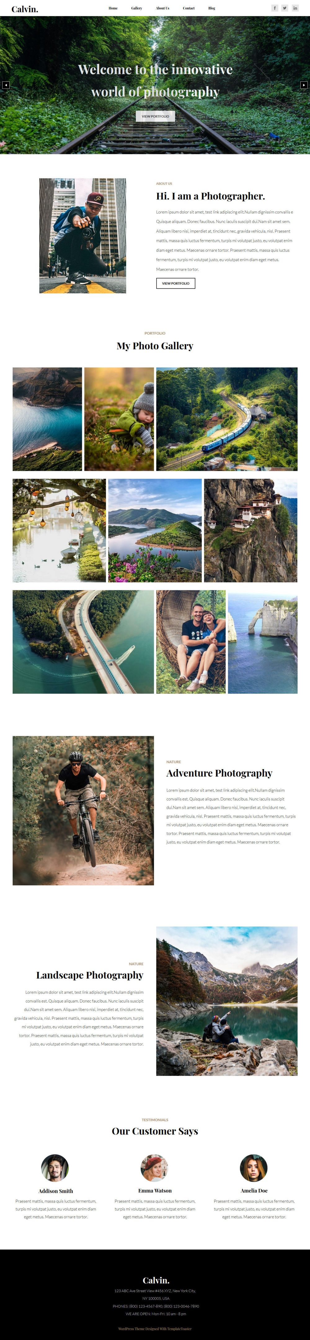 Calvin Photography HTML Template