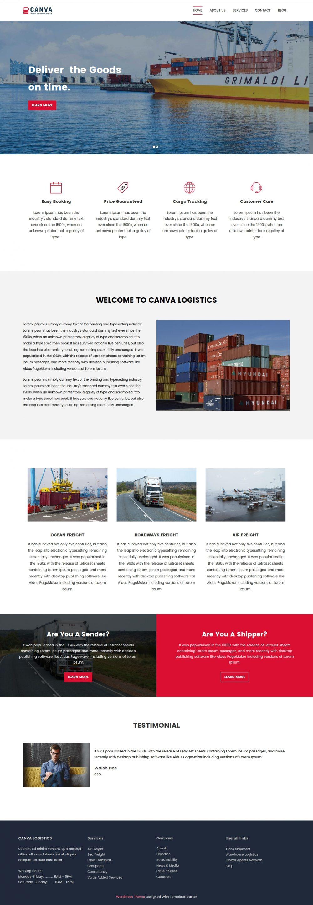 Canva Logistics Transport HTML Template