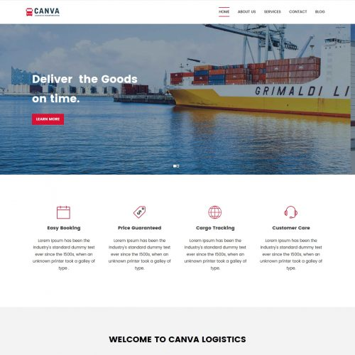 Canva Logistics Transport HTML Template
