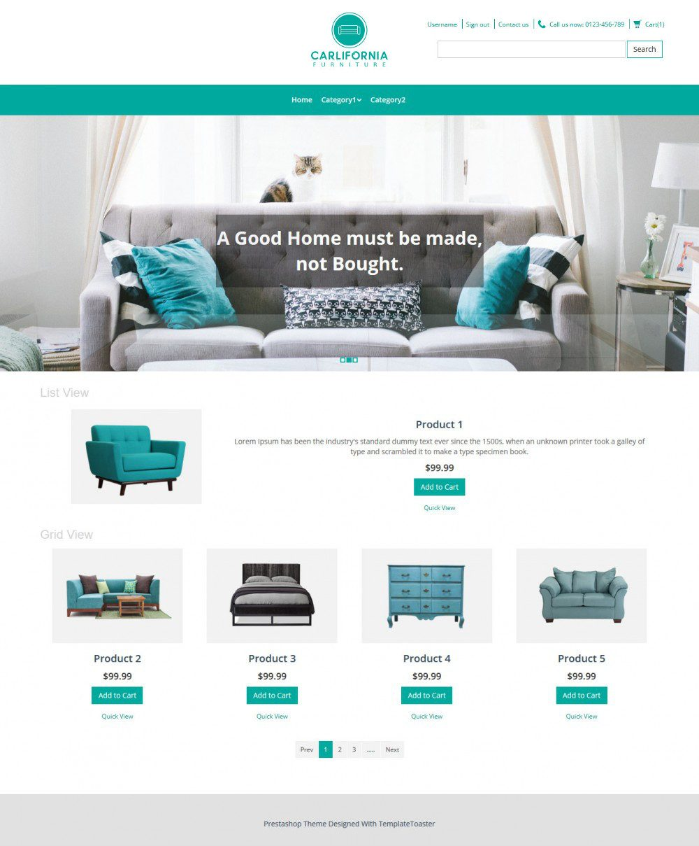 Carlifornia Furniture Virtuemart Template