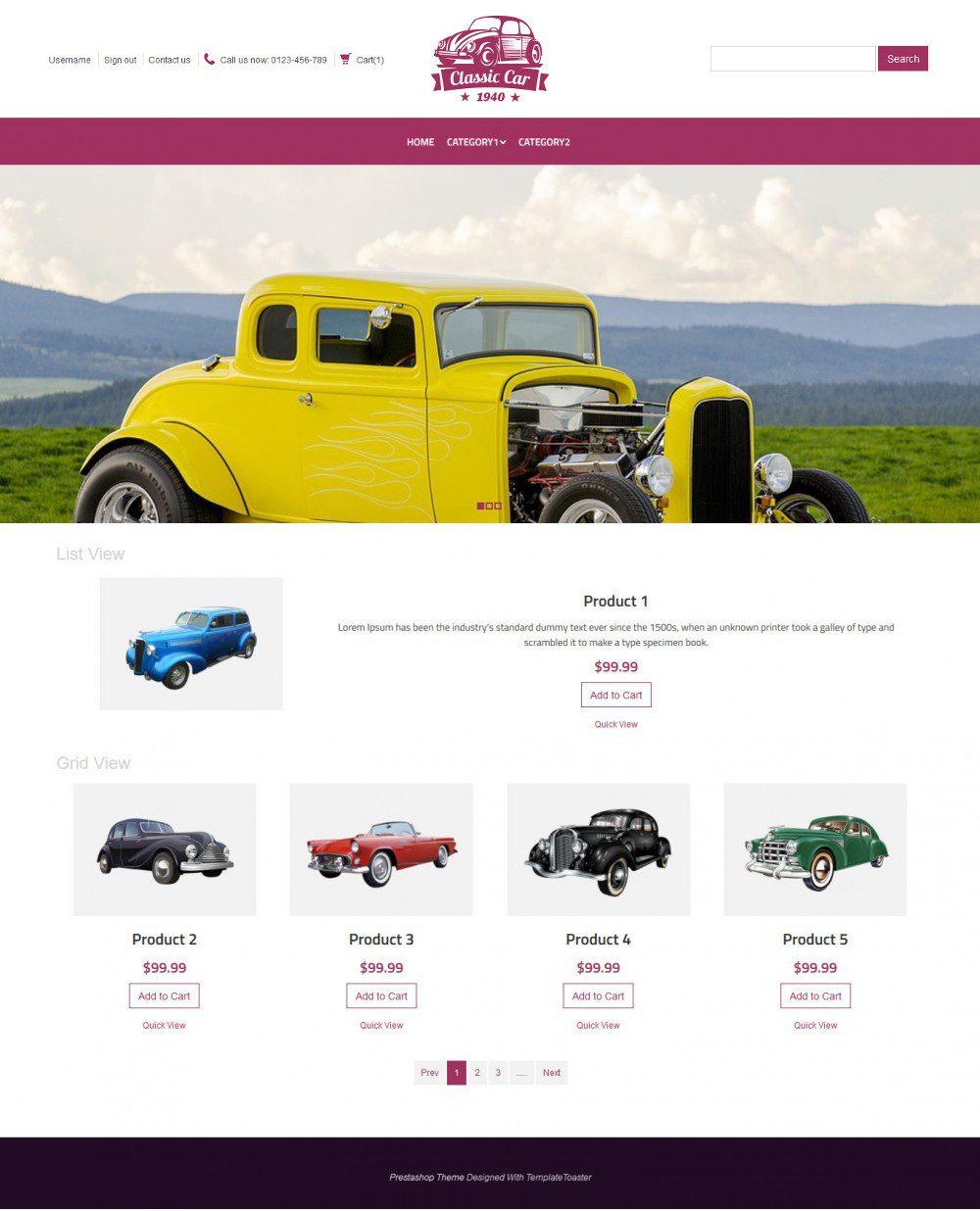 Classic Car Automobile Virtuemart Template