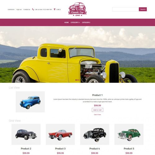 Classic Car Automobile Virtuemart Template