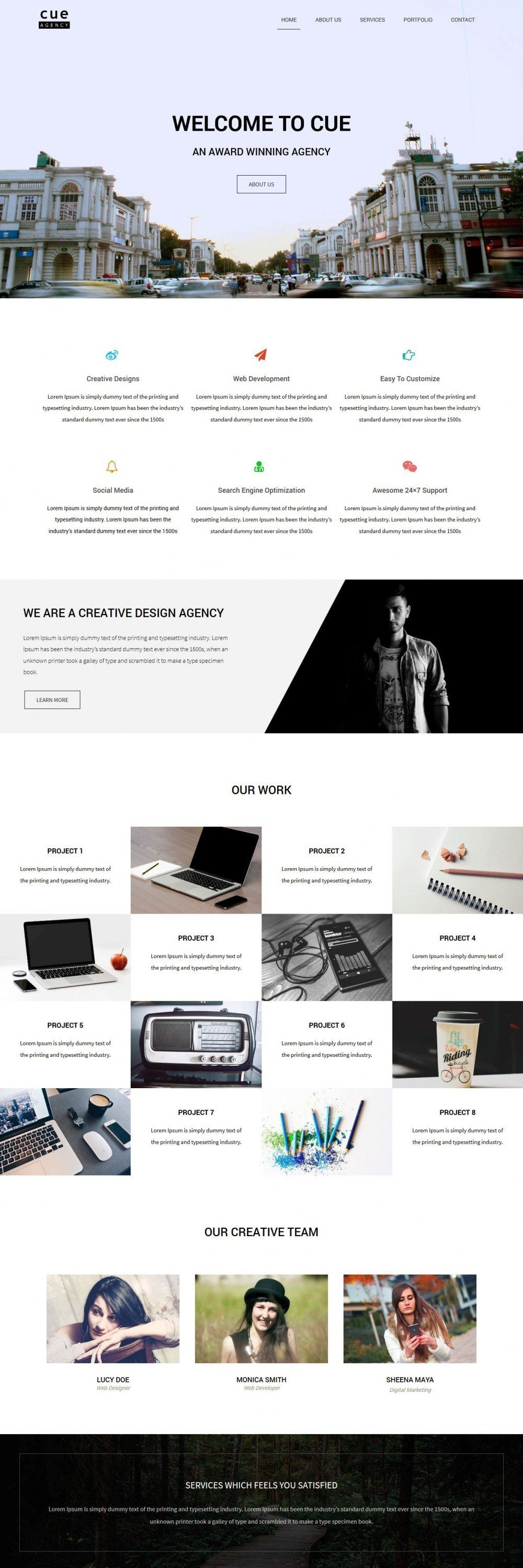 Free Cue Creative Web Design Agency Drupal Theme