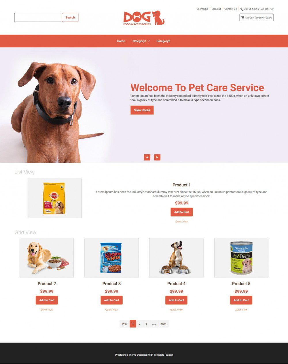 Dog Animal Food and Accessories Online store Virtuemart Template