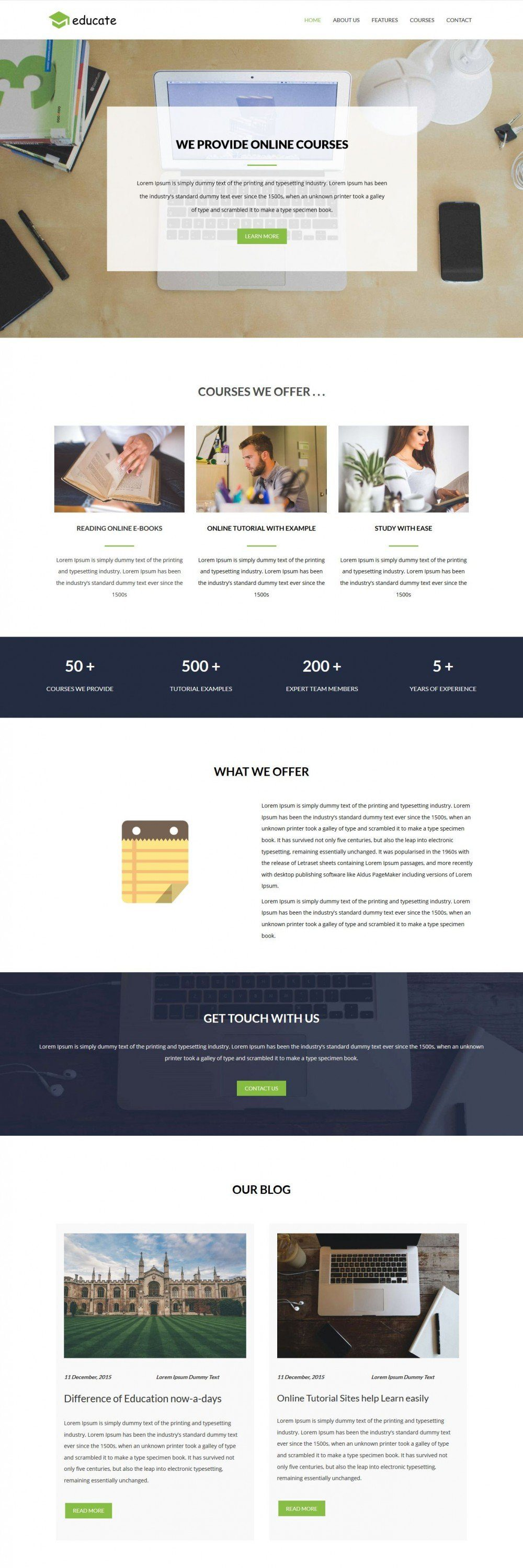 Educate Educational Courses Center HTML Template