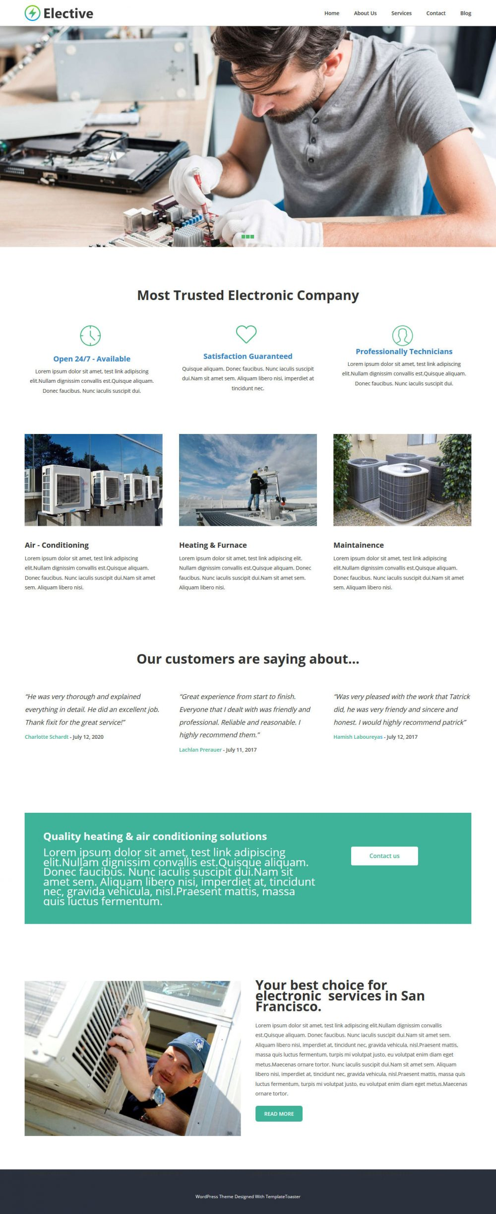Elective Electronic Repair Service HTML Template