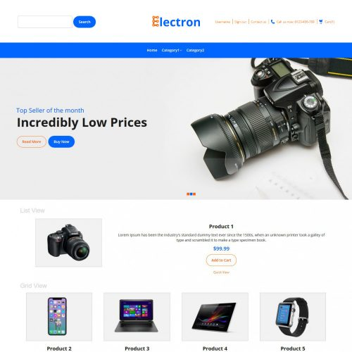 Electron Electronic Store Virtuemart Template