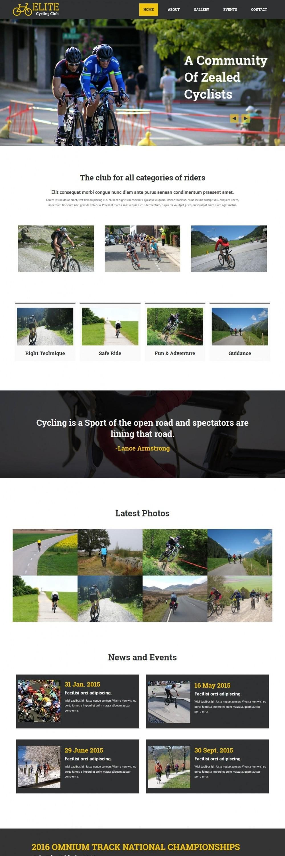 Elite Cycling Club HTML Template