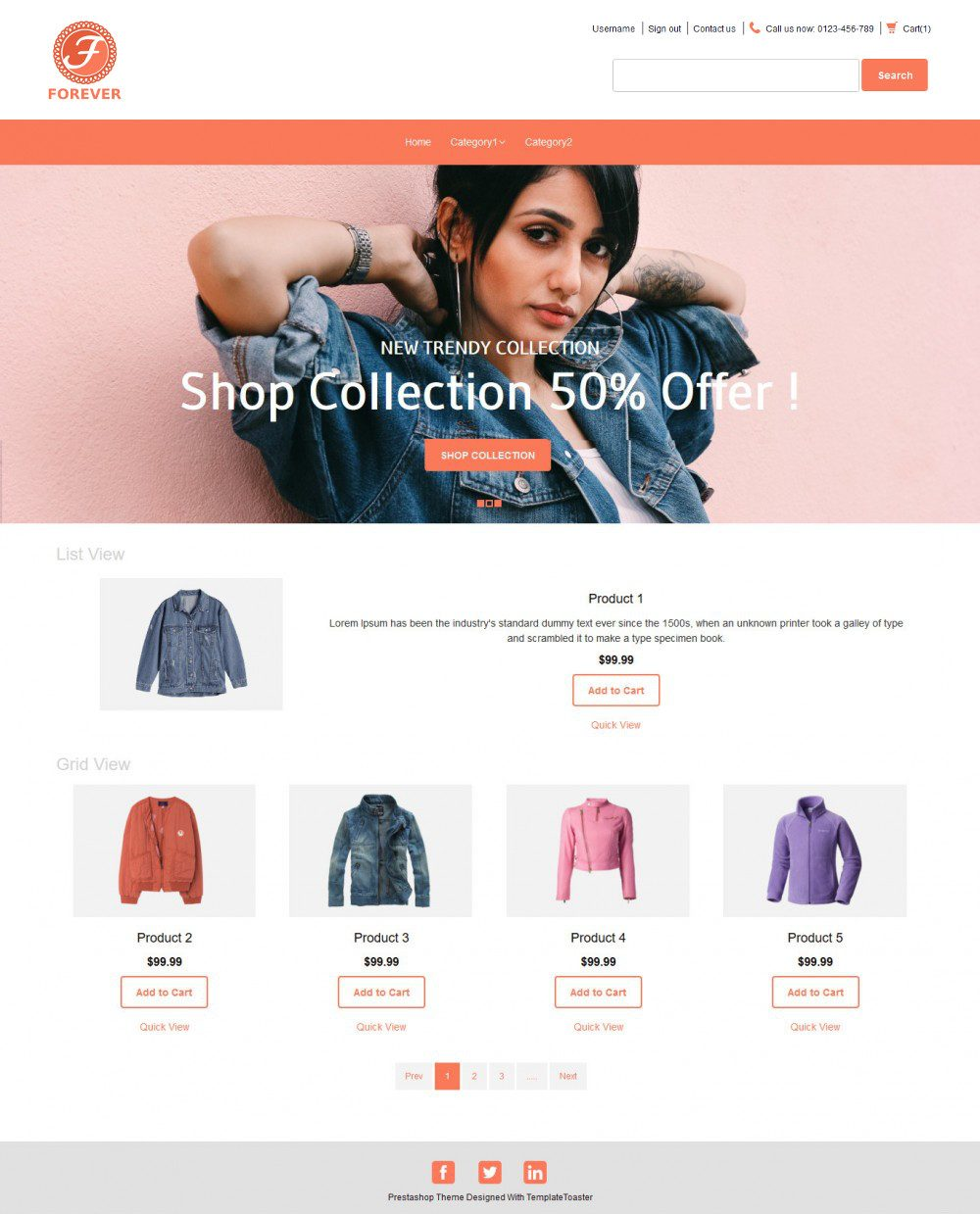 Forever Online Cloth Store OpenCart Theme