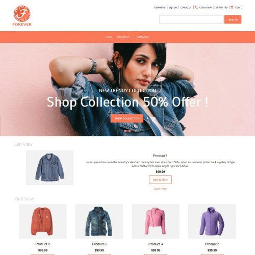 Forever Online Cloth Store Virtuemart Template