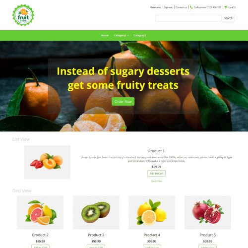 Fruit store Online Fruit Store Virtuemart Template