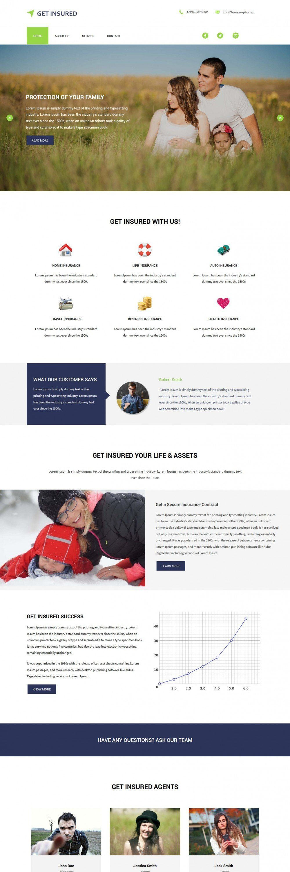 Get Insured Business and Insurance Company HTML Template