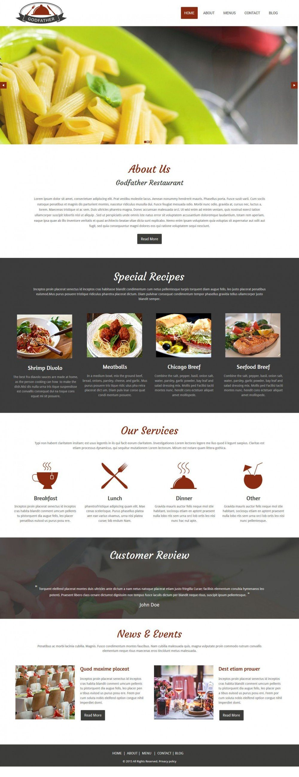 Godfather Cafe Restaurant HTML Template