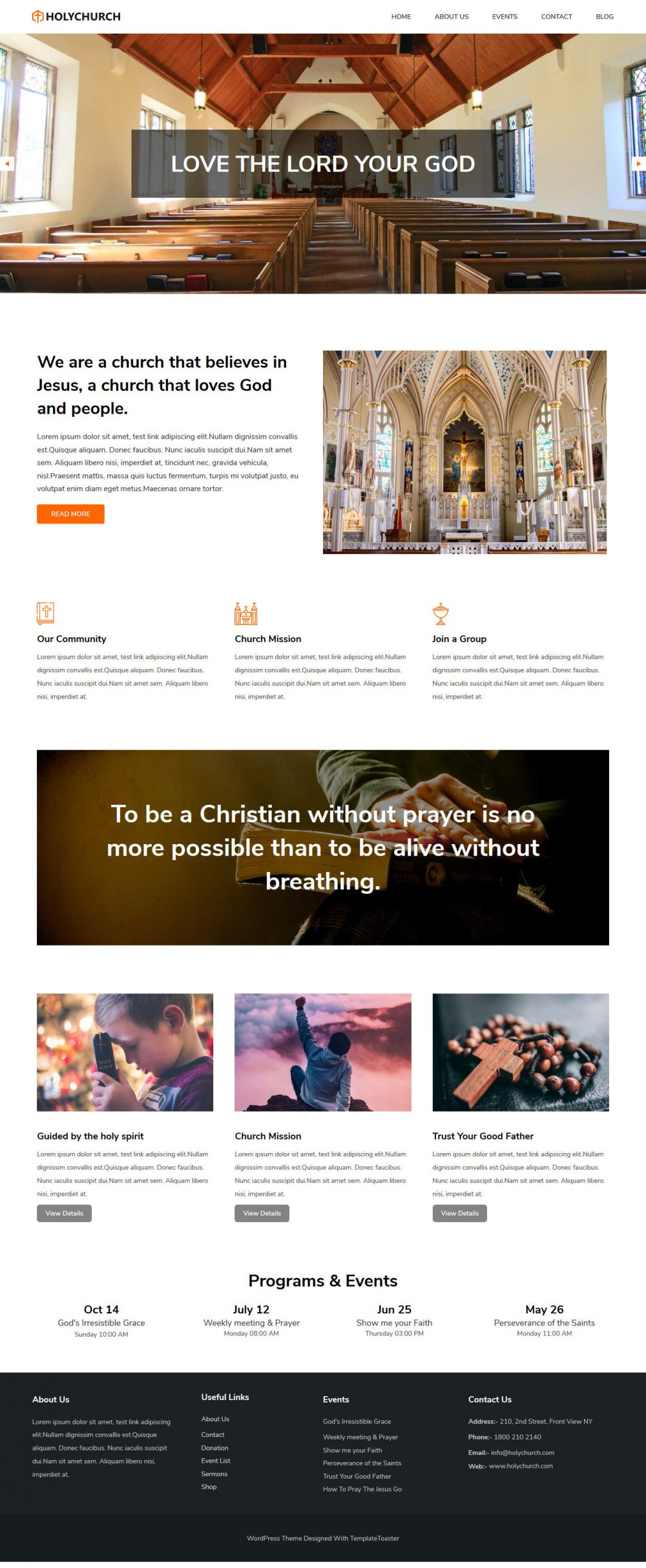 Holy Church Drupal Theme For Church