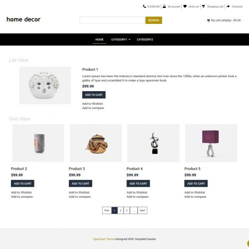 Home Decor Interior Decoration Opencart Theme