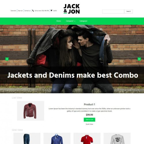 Jack & Jon Clothing OpenCart Theme