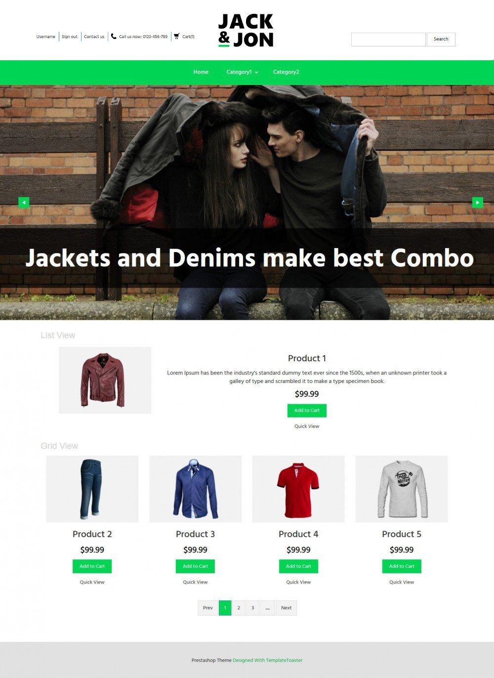 Jack & Jon Clothing Virtuemart Template