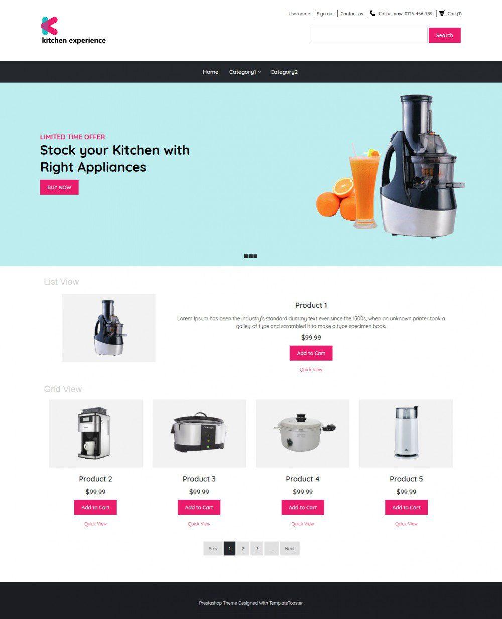Kitchen Experience Kitchen Appliances OpenCart Theme