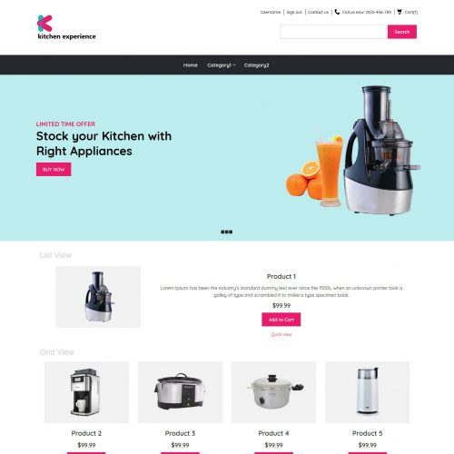 Kitchen Experience Kitchen Appliances OpenCart Theme