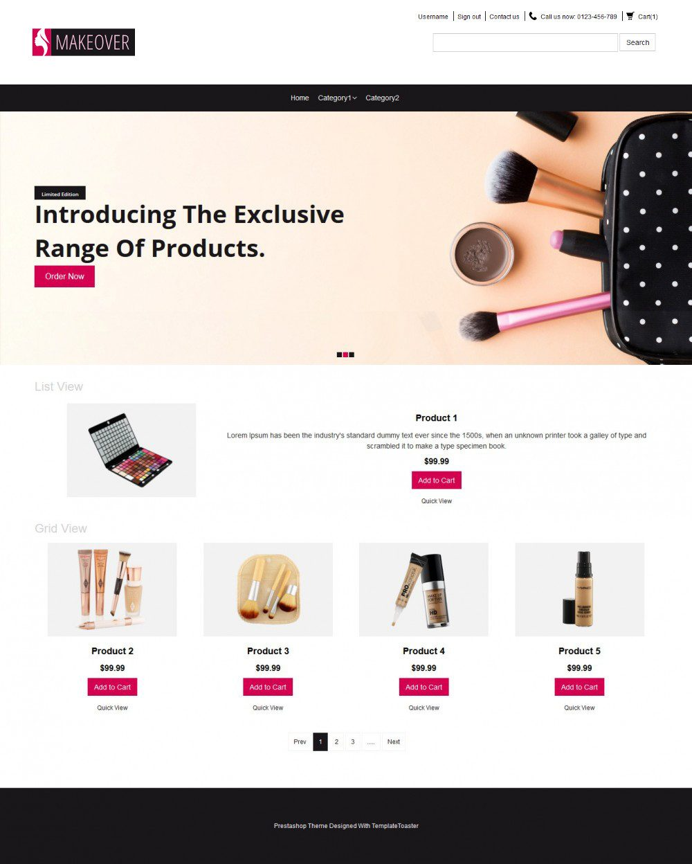 Makeover Makeup Accessories OpenCart Theme